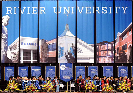 Picture of Graduation Ceremony Banner at the Rivier University