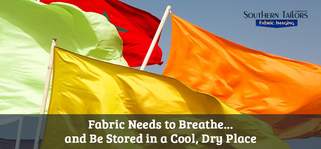 Picture of different flags and fabrics for digital fabric printing