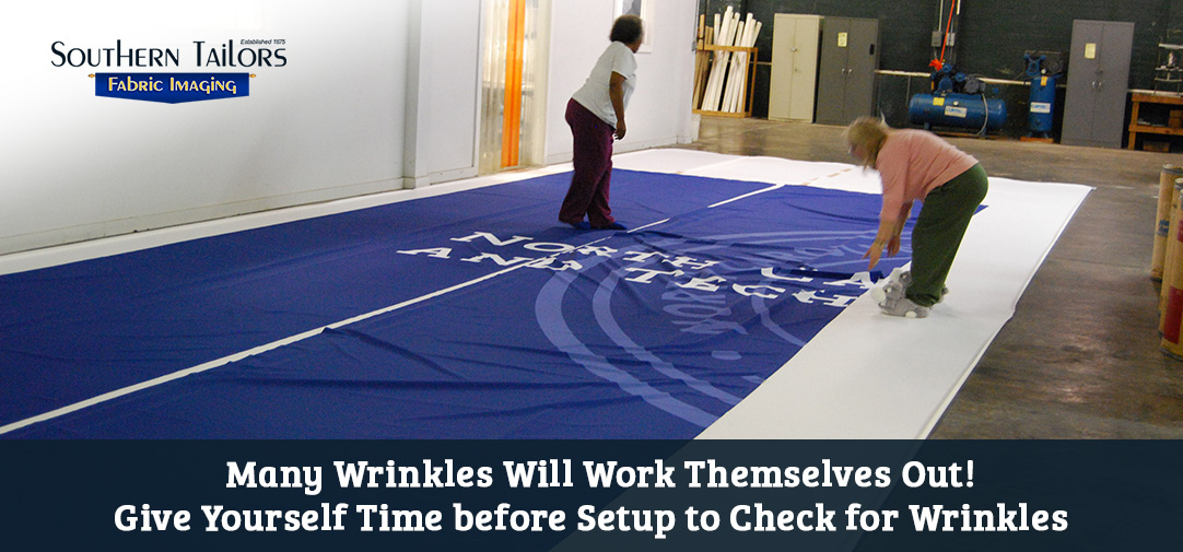 Picture of large format banner after a digital fabric printing process