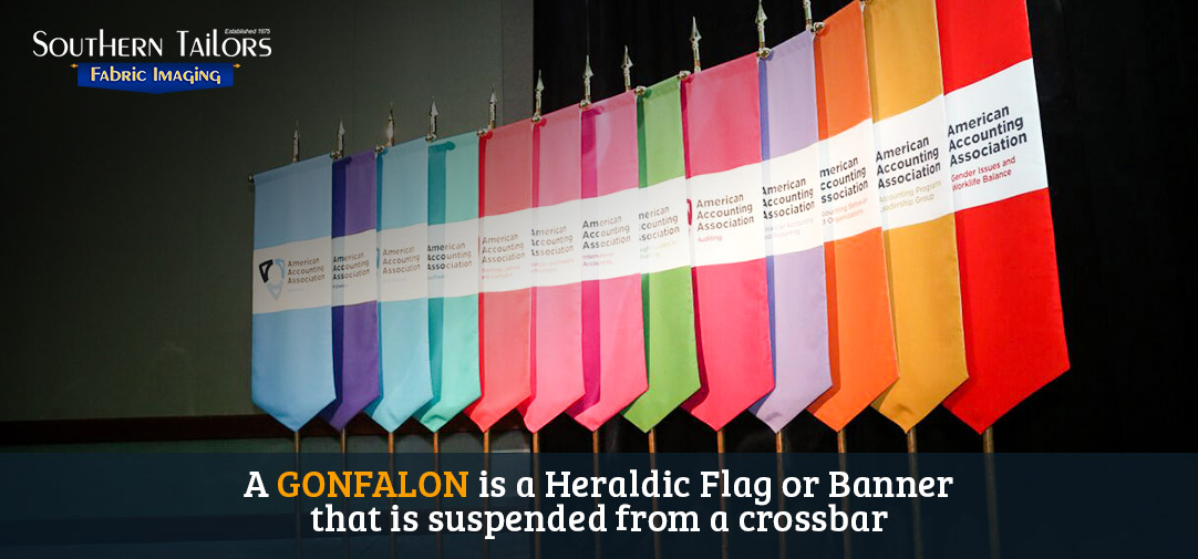 A GONFALON is a Heraldic Flag or Banner  that is suspended from a crossbar