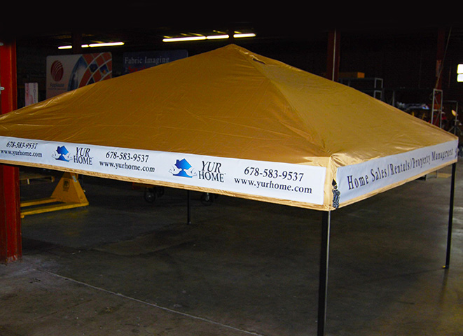 Tent signage printed and sewn onto unit & Interesting Stuff - Southern Tailors