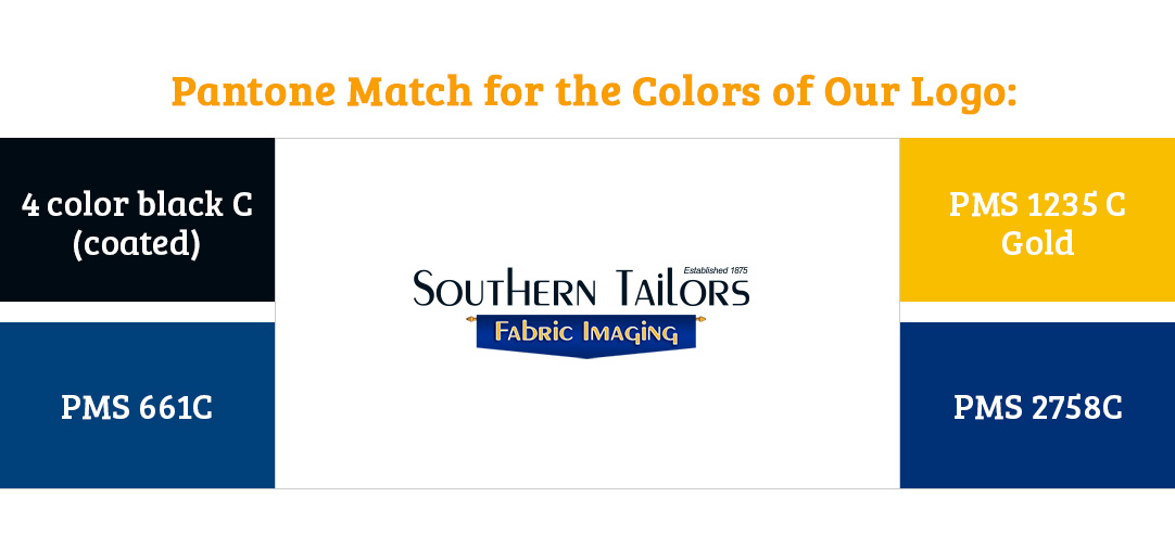Picture of the equivalent pantone color values for the Southern Tailors Fabric Imaging logo